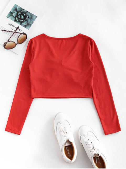 trendy V Neck Cinched Front Cropped Tee - RED L Mobile