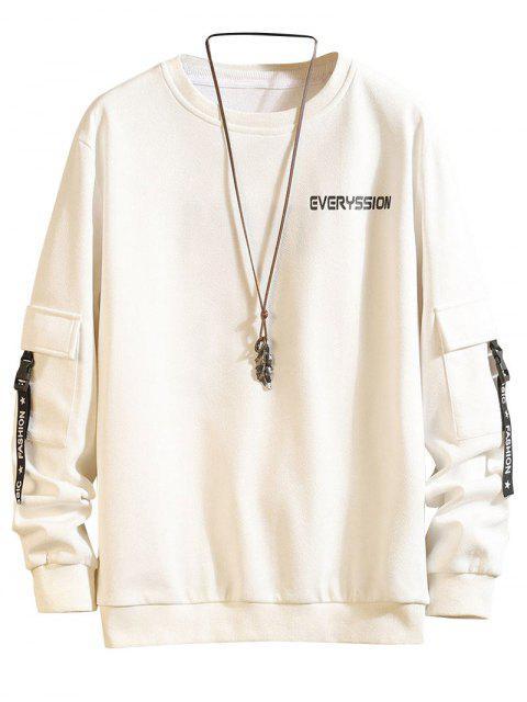 字母打印扣帶緞帶口袋運動衫 - 白色 XL Mobile