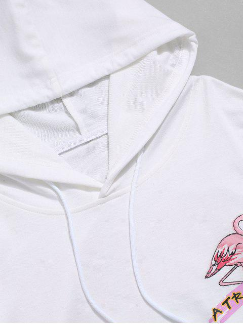 度假信火烈鳥打印抽繩連帽外套 - 白色 S Mobile