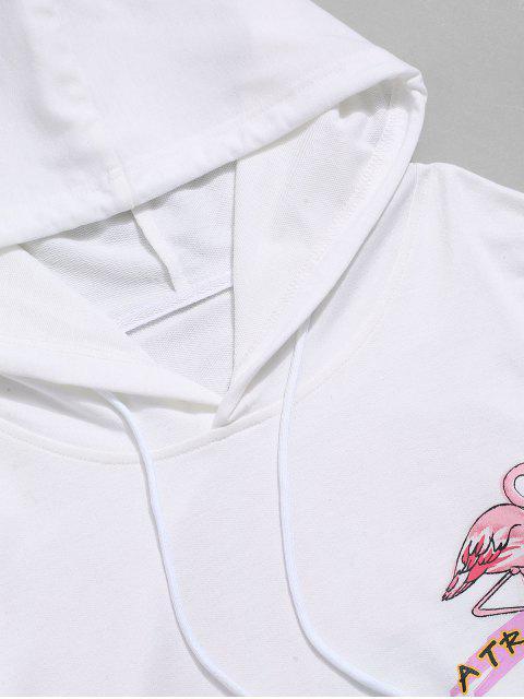 度假信火烈鳥打印抽繩連帽外套 - 白色 L Mobile