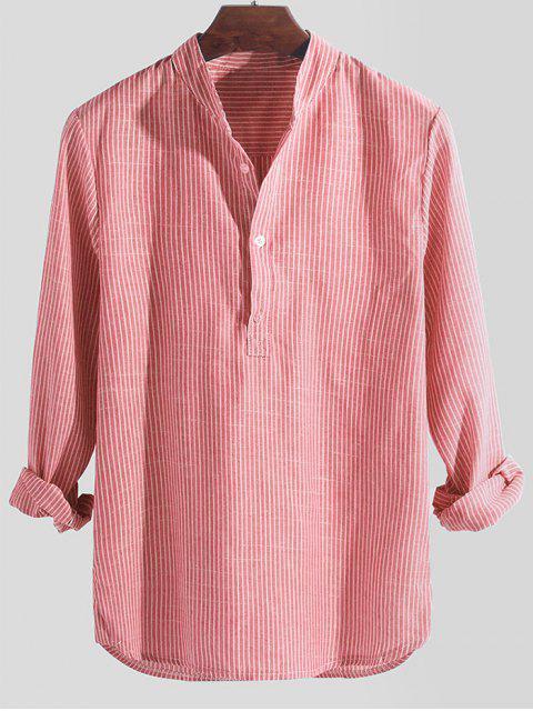 Camisa Manga Larga Estampado Rayado Medio Botón - Rosado M Mobile