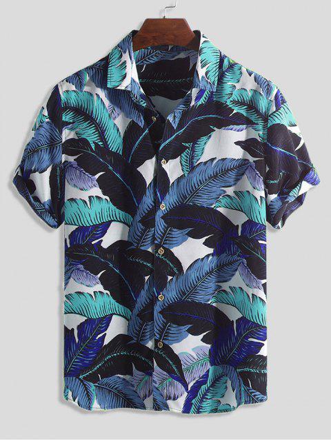 Camisa de Botón de Impresión de Hoja Tropical - Multicolor-B XL Mobile