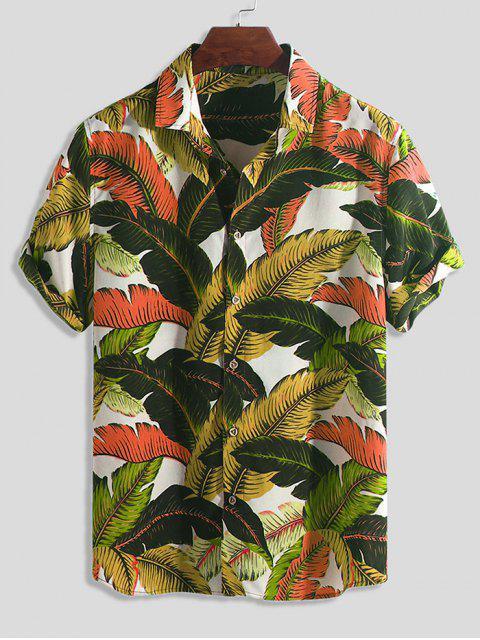 Camisa de Botón de Impresión de Hoja Tropical - Multicolor-C L Mobile