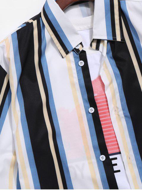 Camisa Manga Larga Estampado Rayas Coloridas - Multicolor-A L Mobile