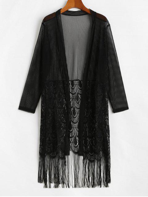 Blusa Trasparente de Encaje con Flecos - Negro Talla única Mobile