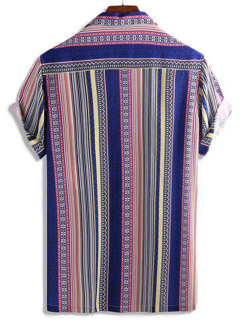 hot Stripes Graphic Print Button Short Sleeve Shirt - MULTI L Mobile