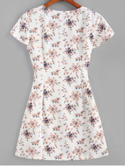 ZAFUL Blumen Tiefes Knopf Verziertes Minikleid - Weiß XL Mobile