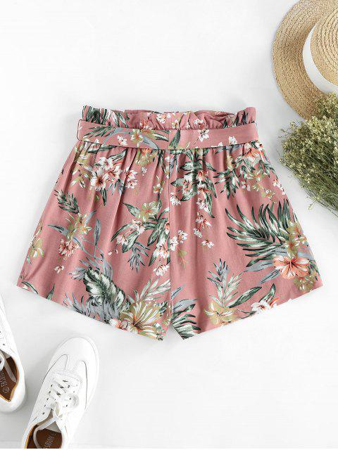latest ZAFUL Flower Paperbag Waist Wide Leg Shorts - MULTI-B L Mobile