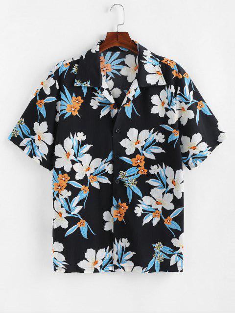 fancy ZAFUL Flower Print Button Up Vacation Shirt - BLACK 2XL Mobile