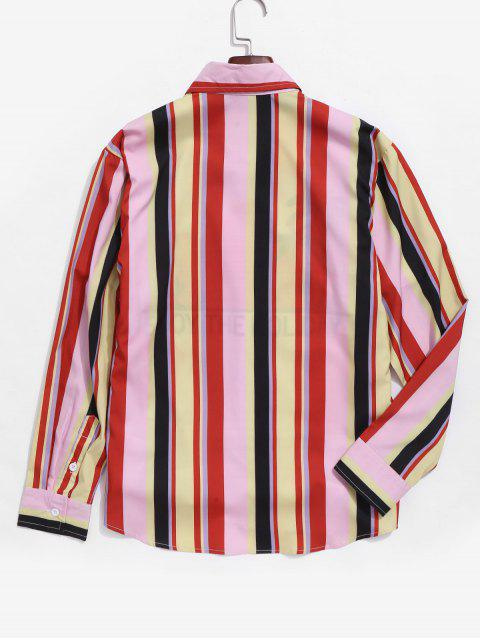 women's Colorful Striped Pattern Casual Shirt - MULTI-A 2XL Mobile