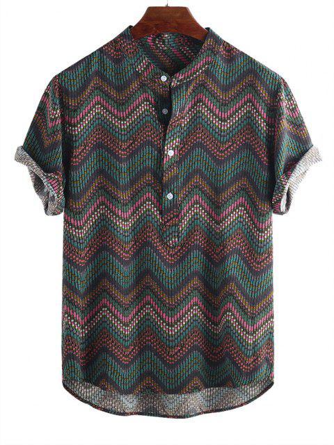 unique Wave Graphic Print Half Button Short Sleeve Shirt - MULTI-C M Mobile