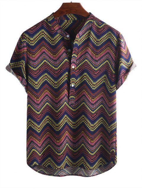 buy Wave Graphic Print Half Button Short Sleeve Shirt - MULTI-B L Mobile