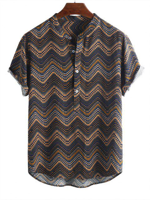 latest Wave Graphic Print Half Button Short Sleeve Shirt - MULTI-A M Mobile