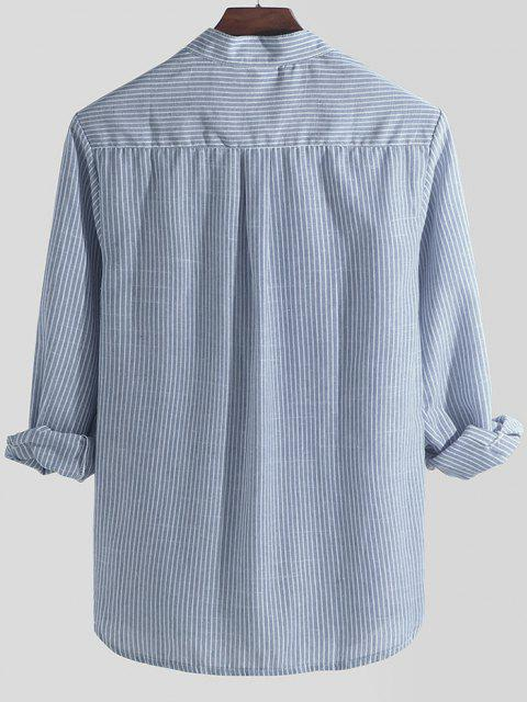 buy Striped Print Half Button Kurta Long Sleeve Shirt - SKY BLUE M Mobile