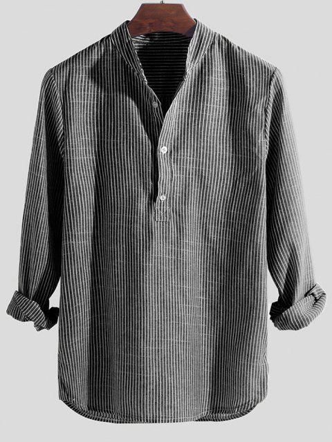 buy Striped Print Half Button Kurta Long Sleeve Shirt - GRAY 3XL Mobile