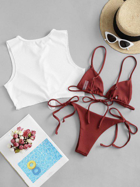 ZAFUL Maillot de Bain Bikini Côtelé Noué Trois Pièces - Châtaigne Rouge L Mobile