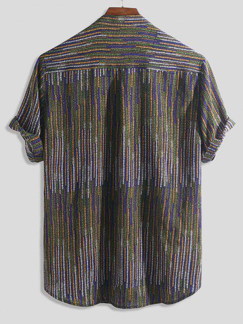 ladies Half Button Striped Print High Low Shirt - MULTI-A M Mobile