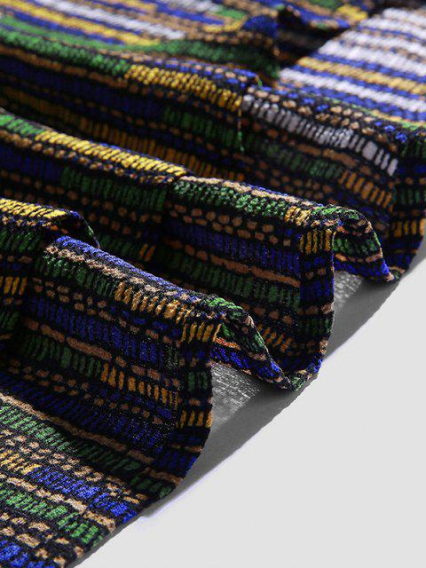 best Half Button Striped Print High Low Shirt - MULTI-A XL Mobile
