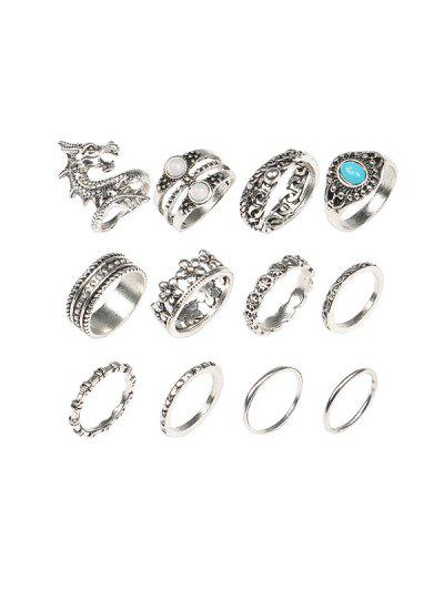 12 Piece Dragon Floral Faux Turquoise Finger Rings Set - Silver