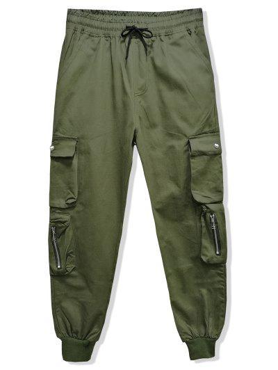 Cor Sólida Multi-bolso Da Calças Com Cordão Jogger - Exército Verde 3xl