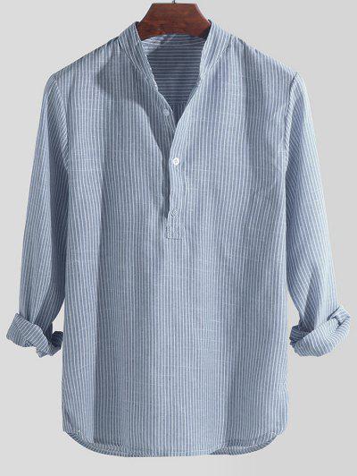 Striped Print Half Button Long Sleeve Shirt - Sky Blue L