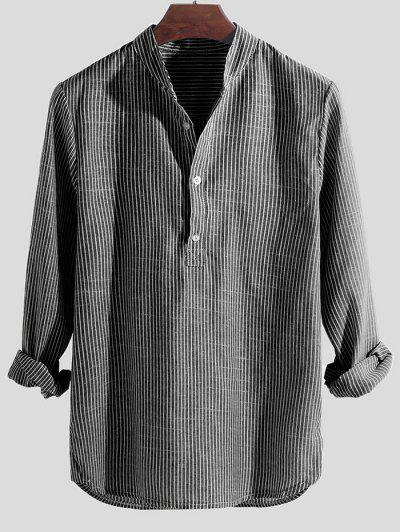 Striped Print Half Button Long Sleeve Shirt - Gray M
