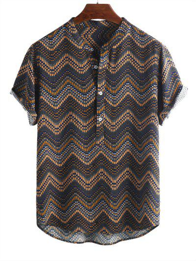 Wave Graphic Print Half Button Short Sleeve Shirt - Multi-a L