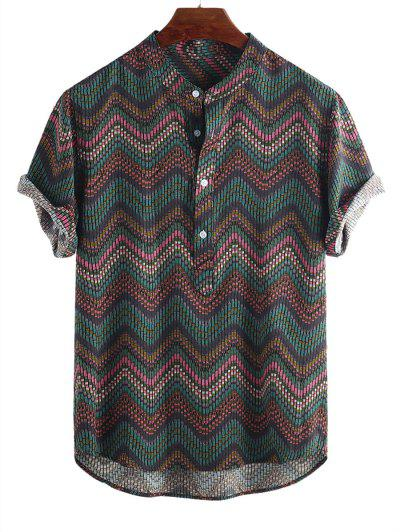 Wave Graphic Print Half Button Short Sleeve Shirt - Multi-c L