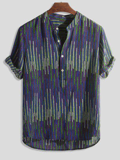 Half Button Striped Print High Low Shirt - Multi-c M