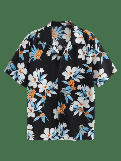ZAFUL Flower Print Button Up Vacation Shirt