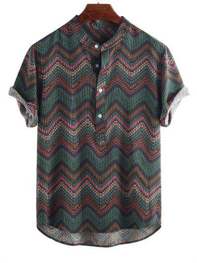 Camisa Con Estampado Gráfico De Onda Media Manga Corta Y Botones - Multicolor-c L