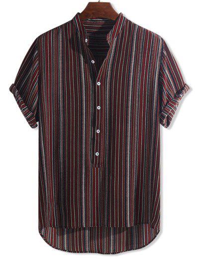 Chemise Haute Basse Tribale Imprimé à Demi-Bouton - Multi-a M