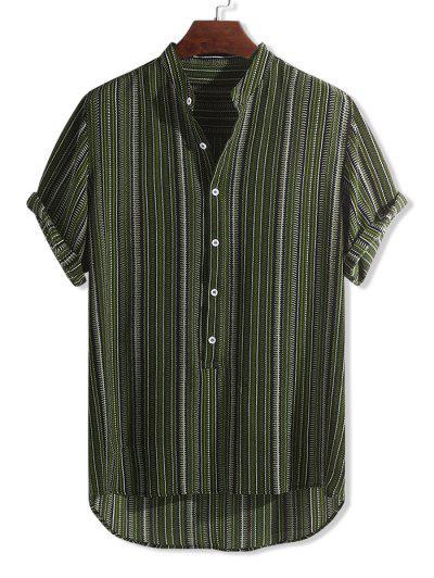 Half Button Tribal Print High Low Shirt - Multi-c L