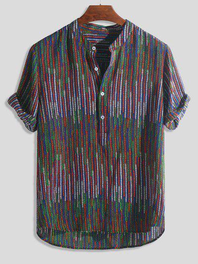 Half Button Striped Print High Low Shirt - Multi-b Xl