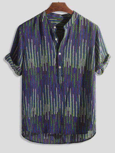 Camisa Asimétrica Rayas Verticales - Multicolor-c M
