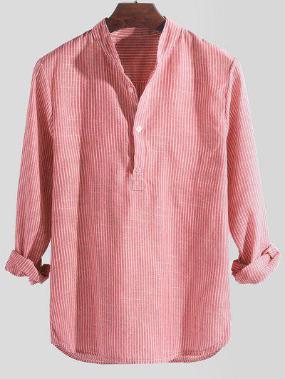 Striped Print Half Button Long Sleeve Shirt - Pink M