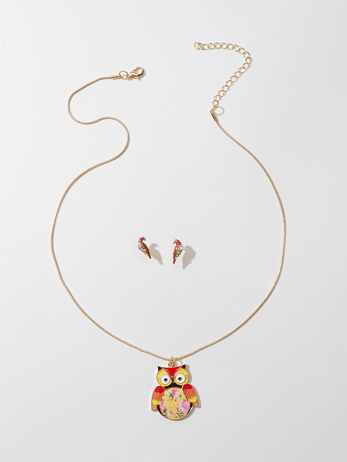 Rhinestone Owl Necklace with Parrot Earrings