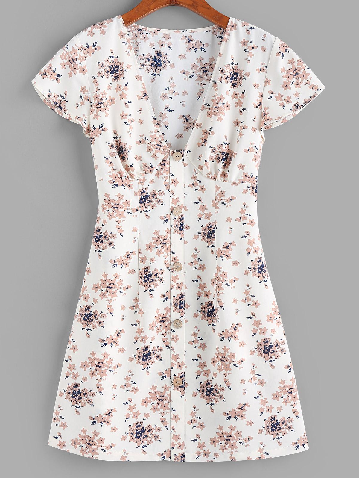 ZAFUL Flower Plunging Button Embellished Mini Dress
