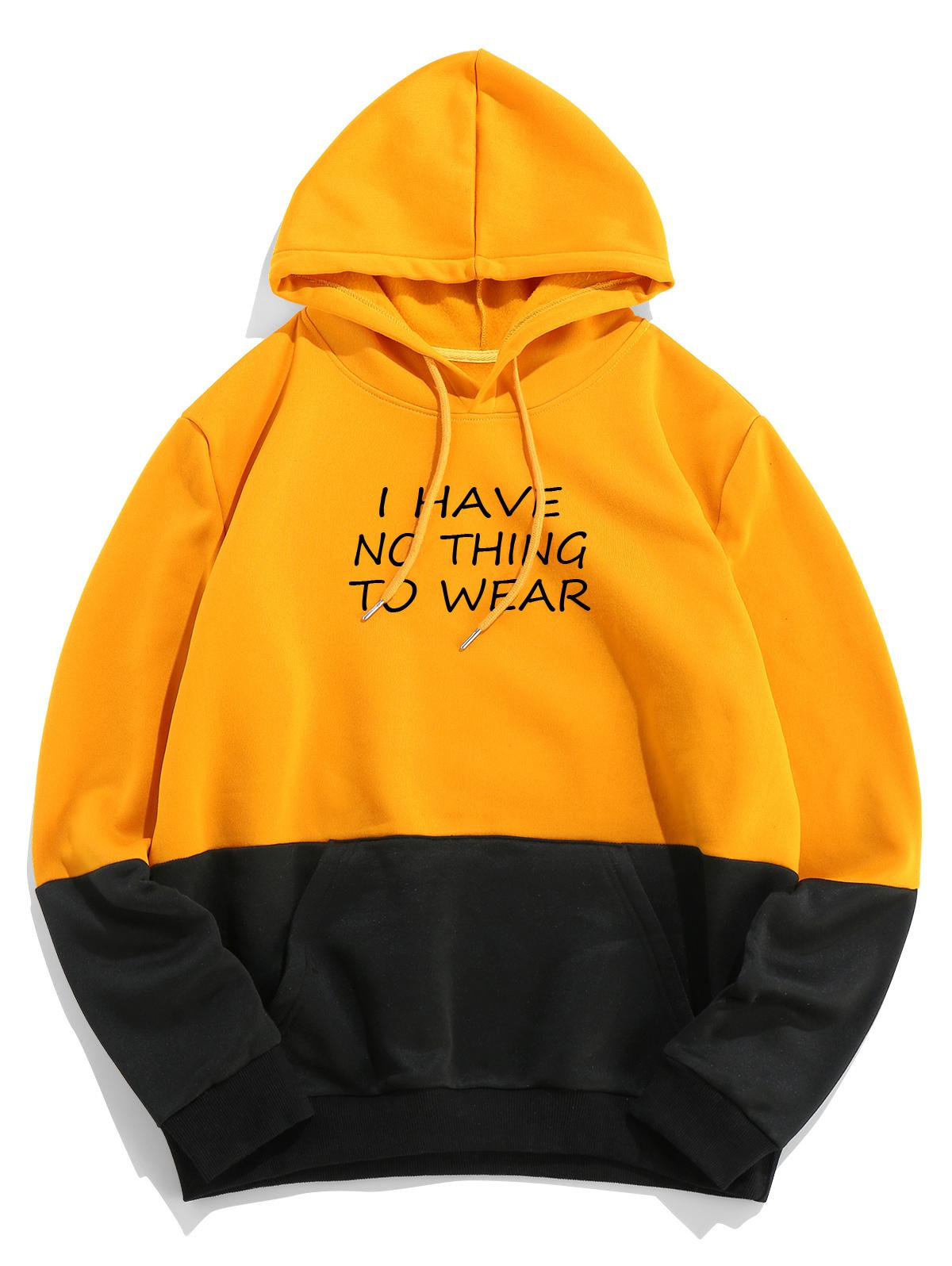 ZAFUL Colorblock Letter Printed Pocket Hoodie фото