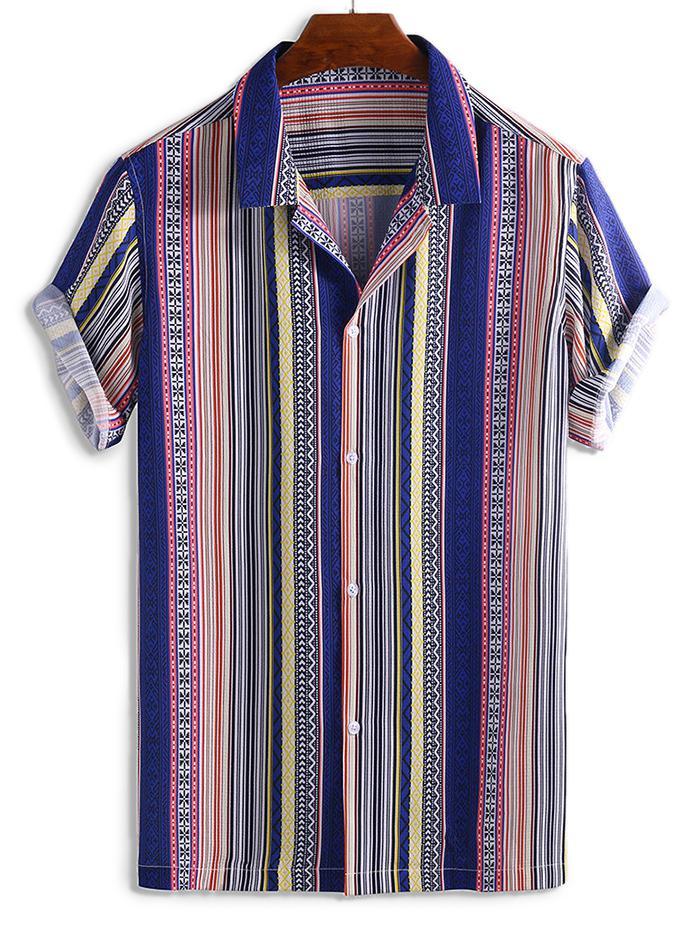 Stripes Graphic Print Button Short Sleeve Shirt фото