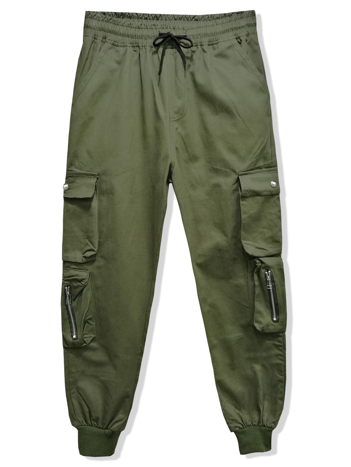 Solid Color Multi-pocket Drawstring Jogger Pants фото
