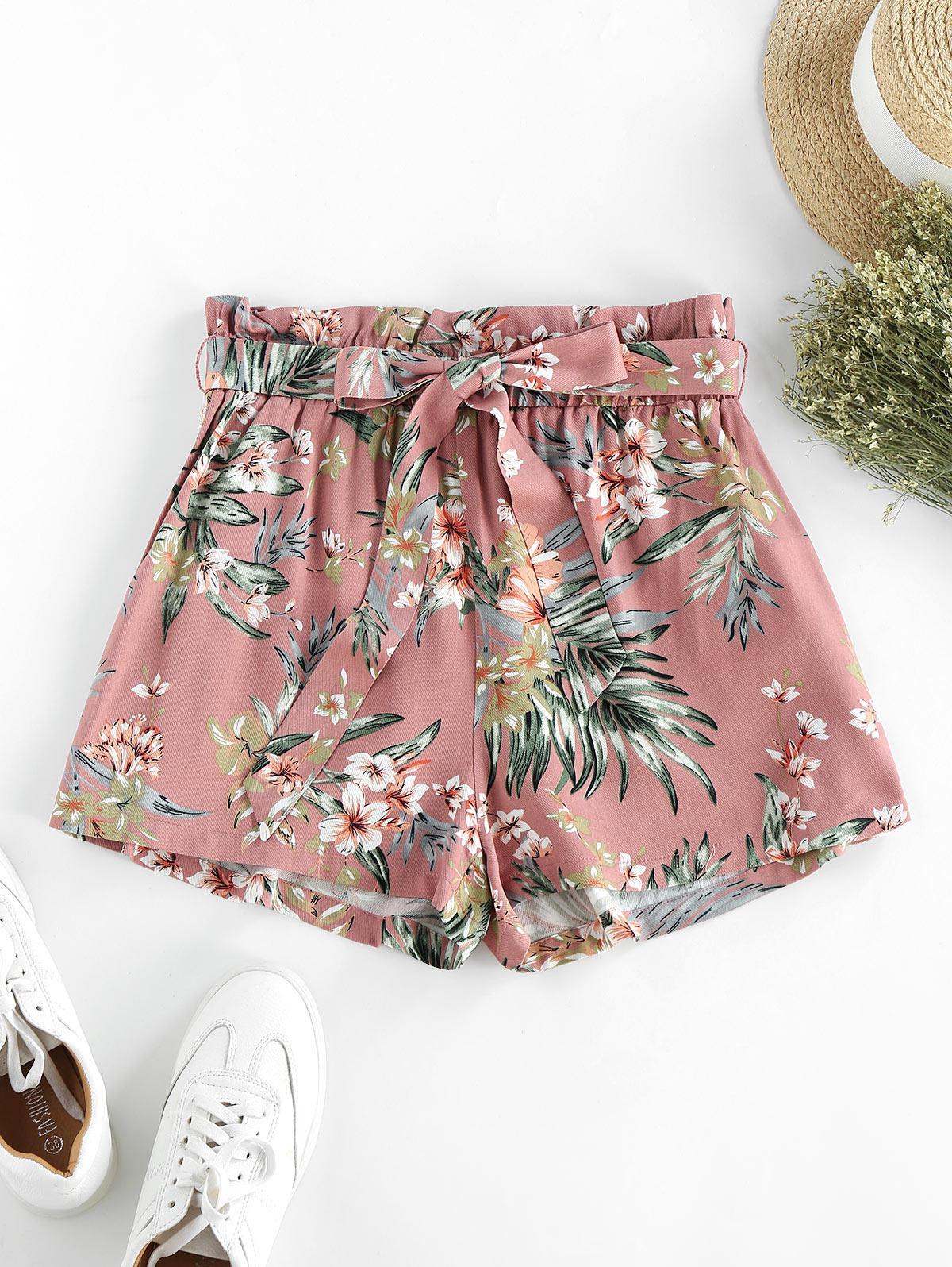 ZAFUL Flower Paperbag Waist Wide Leg Shorts