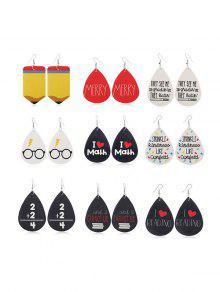 9Pairs Water Drop Letter Earrings Set