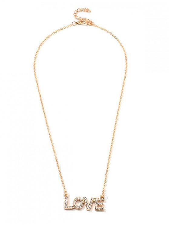 shops Rhinestone Hollow Letter Pendant Necklace - GOLD