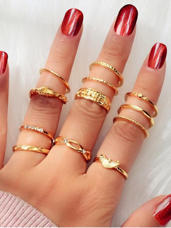 latest 12Pcs Twist Carved Brief Ring Set - GOLD