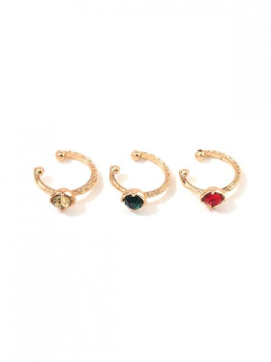 fashion 3Pcs Colored Rhinestone Ear Cuffs Set - GOLD