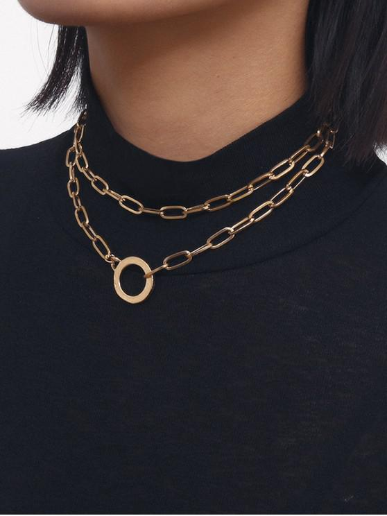 chic Chain Circle Double Layered Necklace - GOLD
