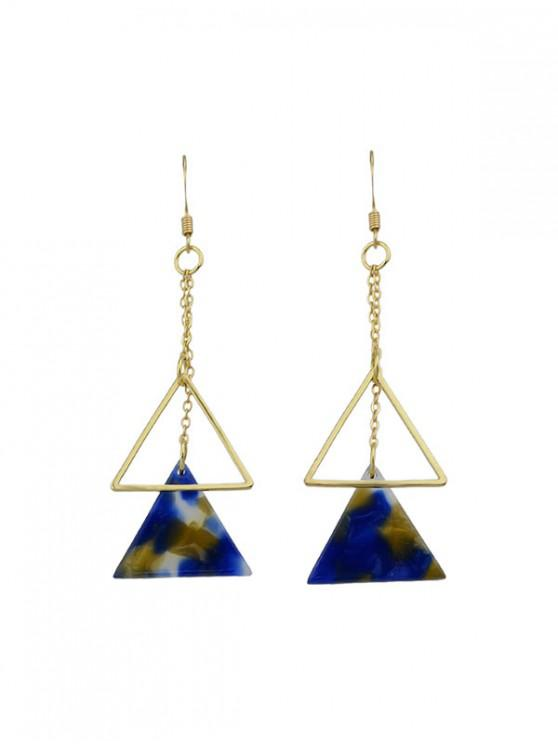 unique Marbling Hollow Triangle Drop Earrings - BLUE
