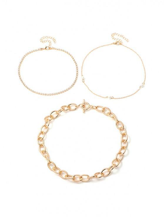 womens 3Pcs Rhinestone Faux Pearl Necklace Set - GOLD