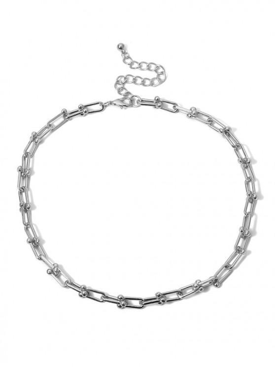 ladies U-buckle Link Chain Necklace - SILVER